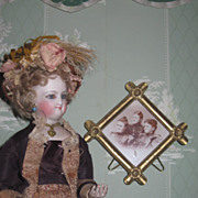 FANCY Miniature Victorian Brass Ormolu Frame w/Fashion Lady Portraits