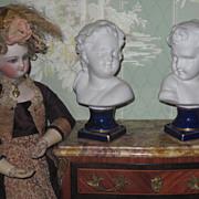 CHARMING Pair of Miniature German Porcelain Figural Children Busts