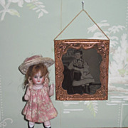 ENCHANTING Miniature Civil War Hand Tinted Tintype of FANCY Little Girl!