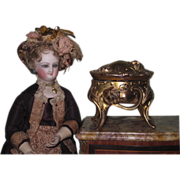 EXQUISITE Miniature Ornate Victorian Gilded Copper Footed Trinket Box!