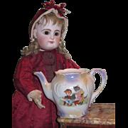 WHIMSICAL Rare Miniature Victorian Painted Porcelain Tea Pot with CAT MOTIF!