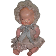 """SALE! Sweet Vintage 3 1/2"""" Painted Bisque/Composition Baby Doll in Original FANCY Oufit!"""