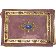 RARE Victorian Jeweled Purple Velvet Small Portfolio Purse!