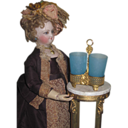 SALE! Ornate Miniature French Victorian Ormolu Caddy with Blue Opaque Glasses!