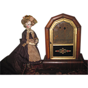 CHARMING Victorian Mantel Clock Display Case with Reverse Painting for DOLL DISPLAY!