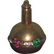 "TINY Fancy Vintage Miniature ""Jeweled"" Brass Perfume/Scent Bottle for FASHION DOLLS!"