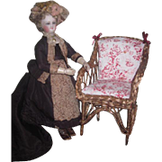 SUPERB Antique Miniature Gilded Wicker Upholstered French Fashion Doll Armchair!