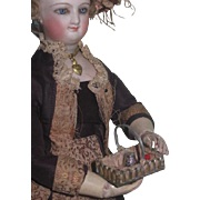 TINY Rare Anitique Miniature Sewing Etui Basket with Accessories for FRENCH FASHION dolls!