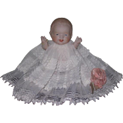 "SWEET Antique 5"" Jointed All Bisque Bent Leg Baby Doll with FANCY LACE Christening Gown!"