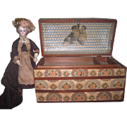 CHARMING Vintage Miniature Wooden Decoupaged Humpback Doll Trunk!