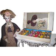 EXTREMELY RARE All Original Boxed Set of Antique Miniature Christmas Victorian Doll Party ...