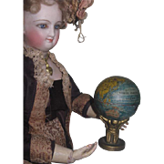 HTF Antique Miniature Lithograph Toy Globe Pencil Sharpener for FASHION DOLL Display!