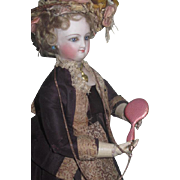 TINY Antique Miniature French Fashion Doll Pink Enamel Guillouche Chatelaine Hand Mirror!