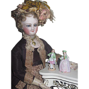 TINY Pair of Antique Miniature Hand Painted Porcelain French Figurines for FASHION DOLL Displa