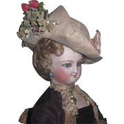 MAGNIFICENT Antique French Fashion Doll Fancy Hand Made Milliner's Hat!
