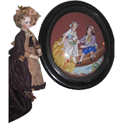 MAGNIFICENT Rare Large Antique French Victorian Framed Two Dimensional Porcelain Figural Scene