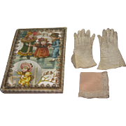 LUXURY Set of Antique French Fashion Doll Gloves and Lace Handkerchief in Lithograph ...