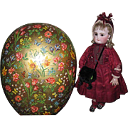 SALE PENDING HUGE Vintage German Lithograph Candy Container Egg Half for DOLL DISPLAY!