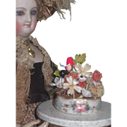SWEET Antique Miniature Hand Painted Lenox Dish with Floral Bouquet for DOLL DISPLAY!