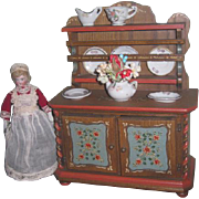 CHARMING Vintage Anri Miniature Hand Painted Wooden Doll Hutch with PORCELAIN ACCESSORIES!