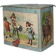 CHARMING Miniature Lithograph Music Box Toy with CHILD/DOLL Motif!