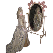 CHARMING Vintage Miniature Enamel Metal Cheval Mirror for FASHION DOLLS!