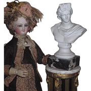 SUPERB Antique Miniature Porcelain Pedestal Bust of Apollo for FASHION DOLL Display!