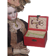 EXTREMELY RARE Authentic Antique French Fashion Doll Miniature Sewing Etui with Original Acces