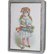 EXQUISITE Antique French Victorian Old Store Stock Miniature Lithograph Box with CHILD MOTIF!