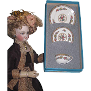 Vintage Miniature Coalport Ming Rose Bone China Tea Set in Original Box~FASHION DOLL Size!