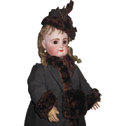 LUXURIOUS 3 Piece Authentic Beaver Fur Trimmed Doll Coat, Hat and Muff Set!