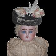 "FACTORY ORIGINAL Antique Cabinet Size 10"" Antique German Heubach Bisque Head Doll with FR"