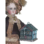GORGEOUS Antique German Miniature Painted Blue Wire Metal Birdcage~FASHION DOLL Size!