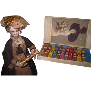 REDUCED! Extremely Rare All Original Boxed Set of Antique Miniature Christmas Victorian Doll .