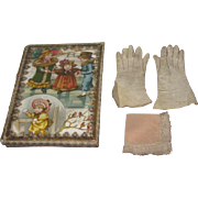 SALE! Set of Antique French Fashion Doll Gloves and Lace Handkerchief in Lithograph ...