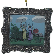 CHARMING Vintage Miniature Dollhouse Reverse Painting on Glass!