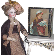 CHARMING Antique Clark's Spool Cotton Miniature Lithograph Wooden Sewing Box with DOLL MOTIF~1