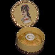 FABULOUS Fancy French Miniature Powder Puff W/Presentation Box in BUTTERCUP YELLOW!
