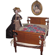 QUALITY Fully Appointed Antique Miniature Four Poster Rope Bed for FASHION DOLLS!