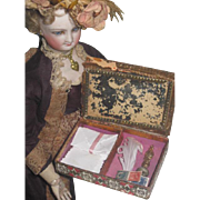 TINY Antique Dresden Paper Lithograph Box with French Fashion Doll PAPETERIE ACCESSORIES!