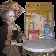 "RARE Set of 4 Vintage Miniature ""Little Homemaker"" Tin Toy Lithograph Clean-Up Set i"