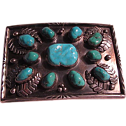 Native American Silver Turquoise Buckle Signed