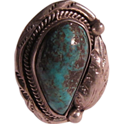 Native American Silver Turquoise Ring Size 10