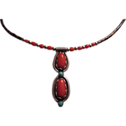 Native American Necklace Coral Silver On Heishi
