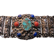 Silver Filigree & Repousse Bracelet With Turquoise Lapis & Coral Color Stones