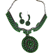 Native American Sterling Silver Gaspeite Necklace Earring Set