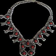 Native American Squash Blossom Necklace Sterling Silver Coral