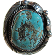 Large Native American Silver Turquoise Ring Size 8.75