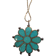 Old Pawn Native American Chanel Inlay Turquoise Silver Pendant