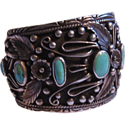 Native American Signed Silver Turquoise Large Bracelet
